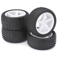 "Absima Wheel Set Buggy ""5-Spokes / Dirt"" white 1:10 (4)"