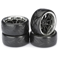 "Absima Wheel Set Drift LP "" 9 Spoke / Profile A"" black/chrome 1:10 (4 pcs)"