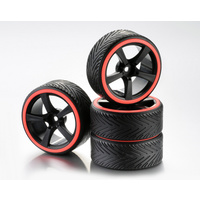 "Absima Wheel Set Drift 5-Spoke ""Profile A"" Rim black/Ring neon orange 1:10 (4)"