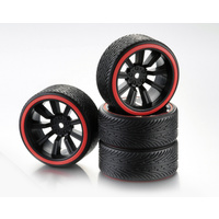 "Absima Wheel Set Drift 9-Spoke ""Profile B"" Rim black/Ring red 1:10 (4)"