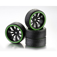 "Absima Wheel Set Drift 9-Spoke ""Profile A"" Rim black/Ring neon green 1:10 (4)"