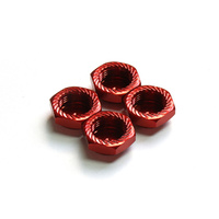 Serrated Cap Nut M12*1.0 Red (4pcs)-Alumina material