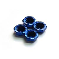 Serrated Cap Nut M12*1.25 Blue (4pcs)-Alumina material
