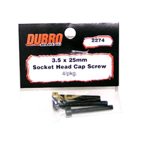 DUBRO 2274 3.5MM X 25 SOCKET-HEAD CAP SCREWS (4 PCS/PACK)
