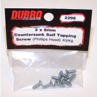 DUBRO 2296 3.0MM X 8 PHILLIPS-HEAD COUNTERSUNK SELF-TAPPING SCREWS (8/PACK)