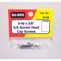 DUBRO 3116 SS 4-40 X 5/8in SCKT HD CAP SCWS (4 PCS PER PACK)