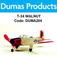 DUMAS 204 T-34 WALNUT SCALE 17.5 INCH WINGSPAN RUBBER POWERED