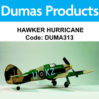 DUMAS 313 HAWKER HURRICANE 30 INCH WINGSPAN RUBBER POWERED