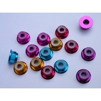 3mm Nylon Nut 2/flange Blue (10)