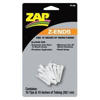 ZAP PT-18 Z-ENDS (10 EXTENDED TIPS/15 INCHES OF MICRO TUBING) 1 X CARD (12 PER BOX)