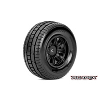 TRIGGER 1/10 SC TIRE BLACK WHEEL WITH 12MM HEX MOUNTED