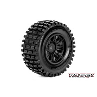 TRACKER 1/10 SC TIRE BLACK WHEEL WITH 12MM HEX MOUNTED