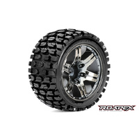 TRACKER 1/10 STADIUM TRUCK TIRE CHROME BLACK WHEEL WITH 1/2 OFFSET 12MM HEX MOUNTED
