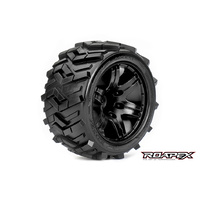 MORPH 1/10 STADIUM TRUCK TIRE BLACK WHEEL WITH 1/2 OFFSET 12MM HEX MOUNTED