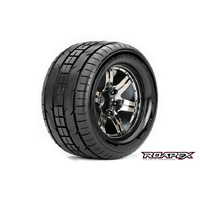TRIGGER 1/10 MONSTER TRUCK TIRE CHROME BLACK WHEEL WITH 1/2 OFFSET 12MM HEX MOUNTED