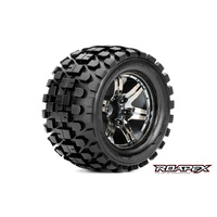 RHYTHM 1/10 MONSTER TRUCK TIRECHROME BLACK WHEEL WITH 1/2 OFFSET 12MM HEX MOUNTED