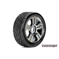 TRIGGER 1/8 BUGGY TIRE CHROME WHEEL WITH 17MM HEX MOUNTED