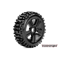 RHYTHM 1/8 BUGGY TIRE BLACK WHEEL WITH 17MM HEX MOUNTED
