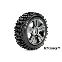 RHYTHM 1/8 BUGGY TIRE  CHROME BLACK WHEEL WITH 17MM HEX MOUNTED