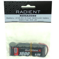 RADIENT SUPERPAX NIMH BATTERY 2/3A 6V 5-CELL 1600MAH SBS-FLAT RECEIVER PACK