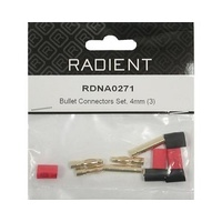 RADIENT GOLD PLATED 4mm BULLET CONNECTOR SET (MALE & FEMALE) X 3PCS