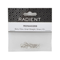 Body Clips Small Straight Silver (10)
