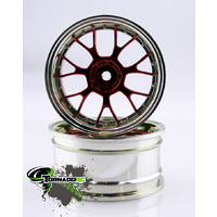 TORNADO RC 1/10 CHROME RIMS SILVER RED 1PAIR