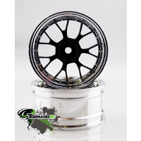 TORNADO RC 1/10 CHROME RIMS SILVER BLACK 1 PAIR