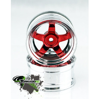 TORNADO RC 1/10 CHROME RIMS SILVER RED 1 PAIR