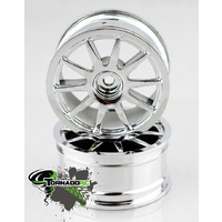TORNADO RC 1/10 CHROME RIMS BRIGHT SILVER 1 PAIR