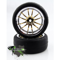 TORNADO RC 1/10 CHROME TIRES SILVER YELLOW 1 PAIR